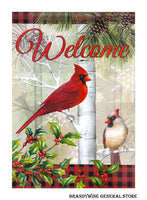Holiday Forest welcome flag from Carson with red cardinal