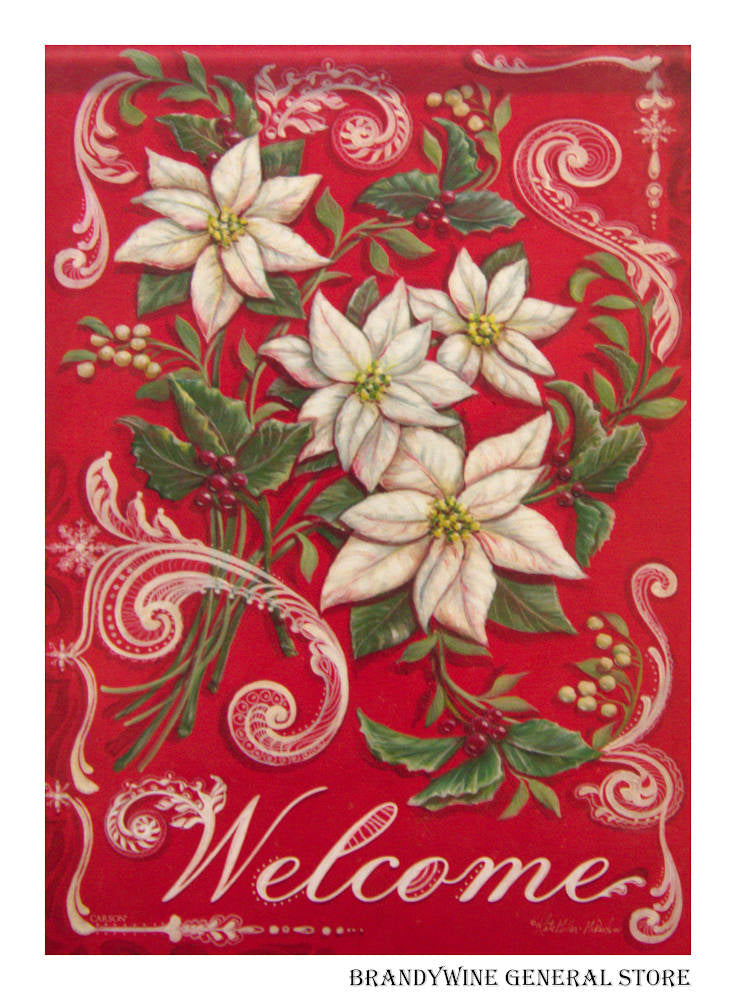 White Poinsettia Decorative Flag