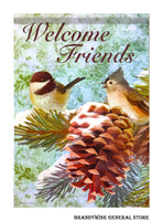 Pine Cone Friends Welcome Winter Flag