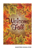 A Welcome Fall Leaves decorative house flag