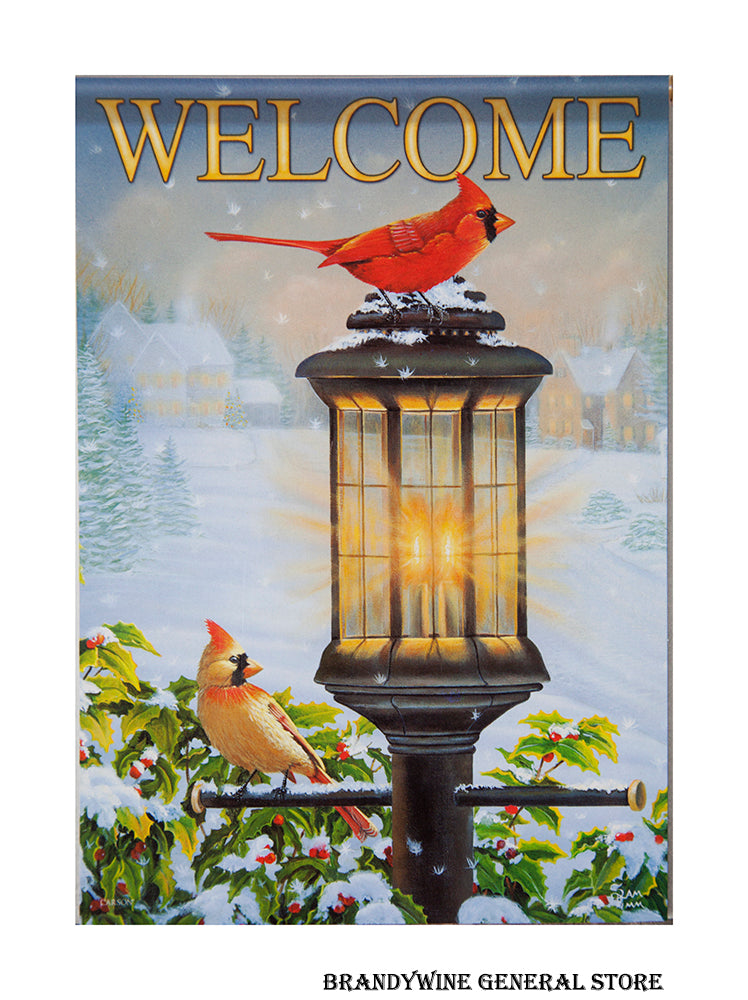 A Cardinals and Lamppost Welcome Winter Flag
