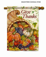 A Give Thanks Cornucopia decorative Thanksgiving flag