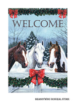 A Horses in the Snow decorative Christmas and Welcome flag