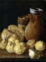 Still Life with Pears, Cheese, Bread and Pitcher by Luis Edigio Melendez