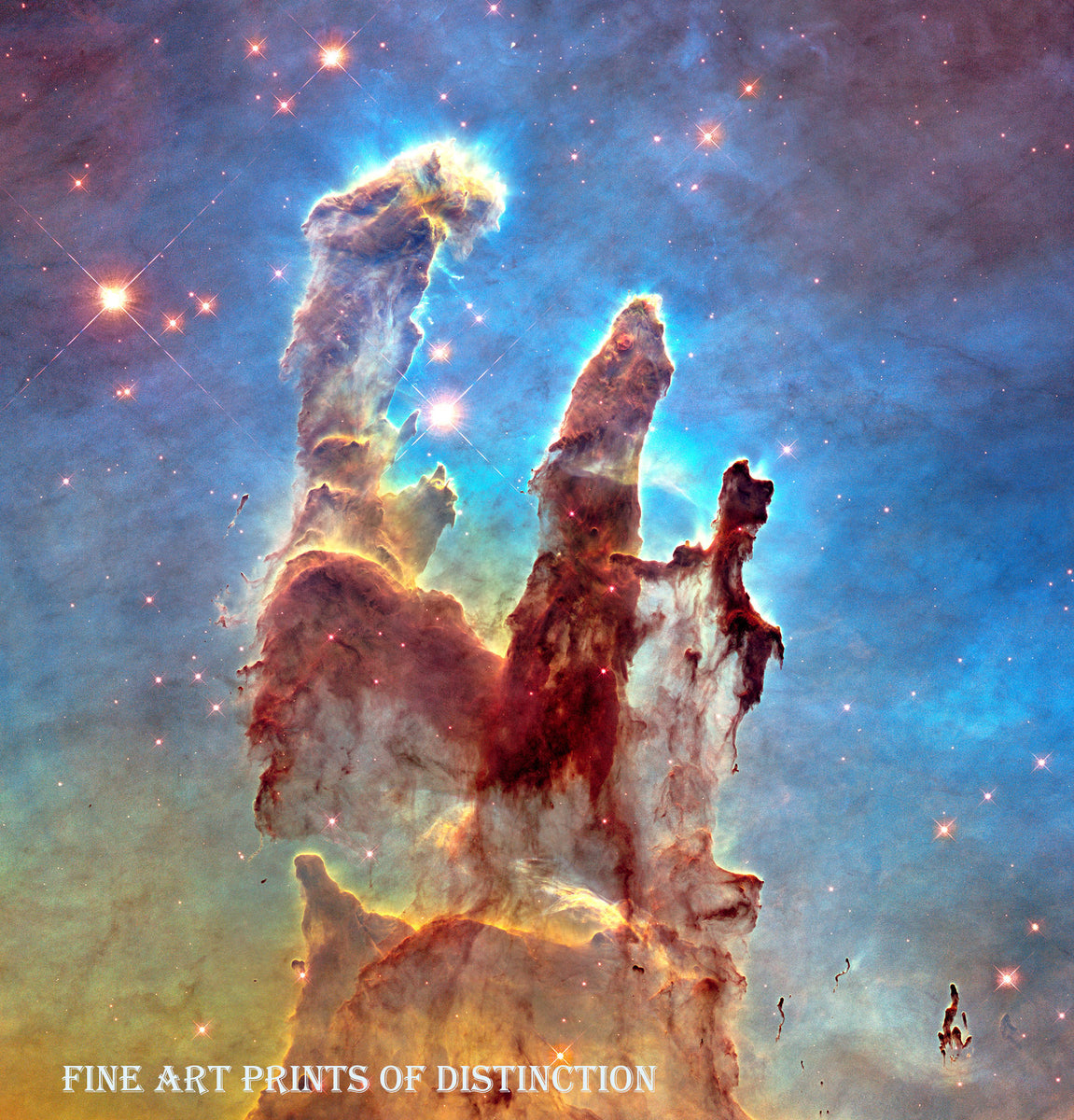 Pillars of Creation a part of the Eagle Nebula art print taken by the Hubble Telescope