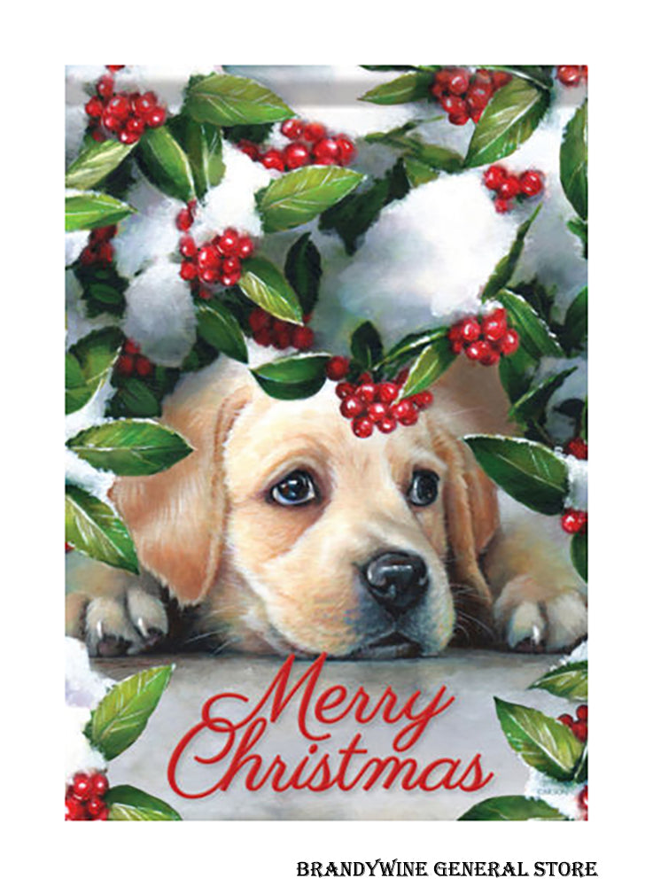 A Puppy and Berries Christmas house flag