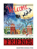A Christmas Village decorative Welcome House flag