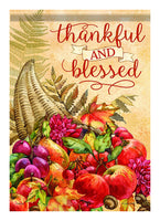 A Thankful and Blessed Decorative Fall and Thanksgiving House Flag
