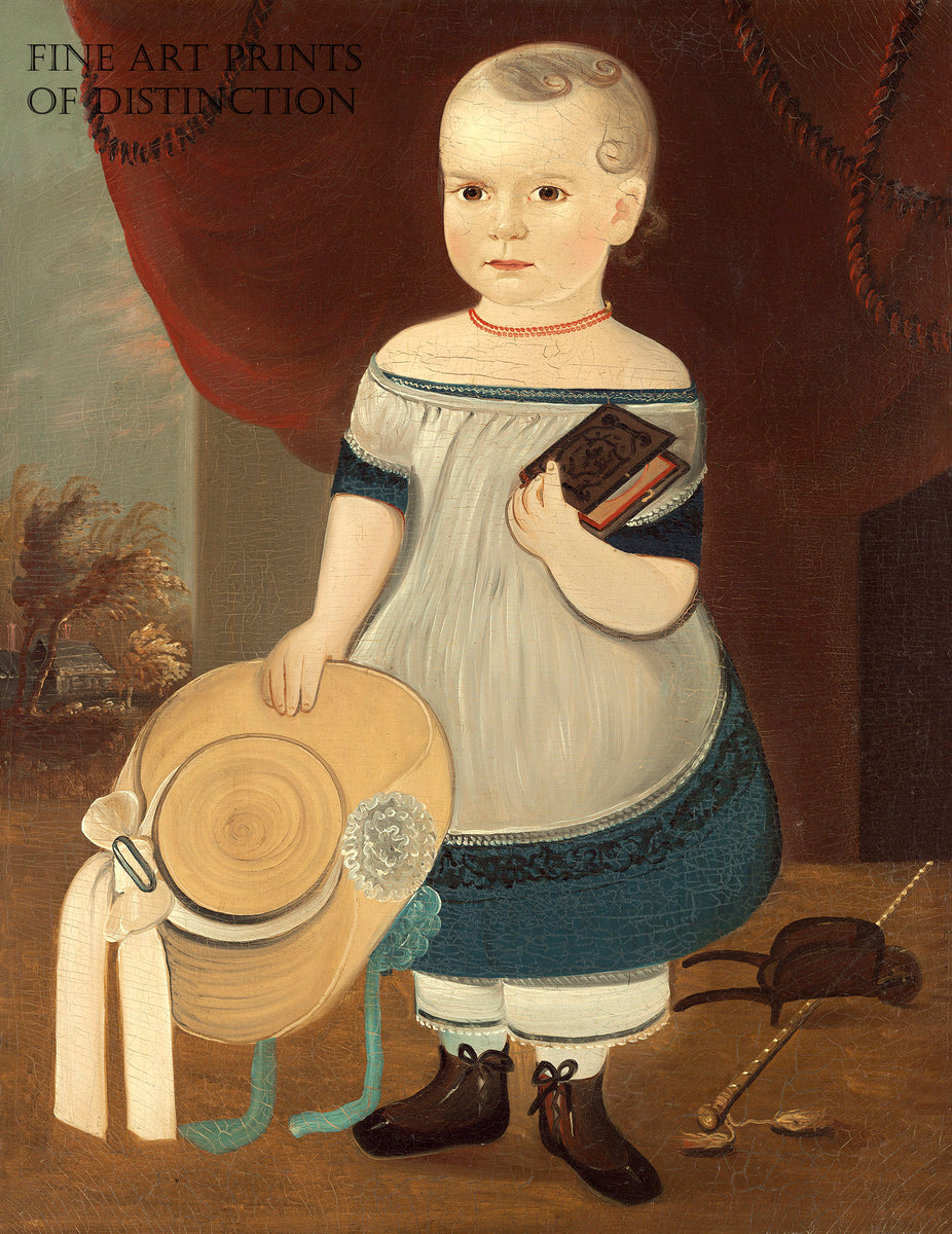 Child with Straw Hat painted by American folk artist William Matthew Prior