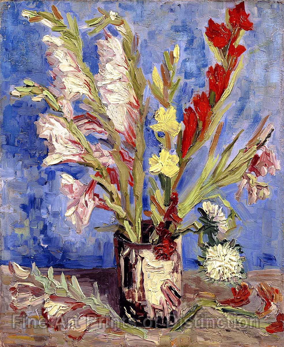 Van Gogh Vincent - Vase With Gladioli and Chinese Asters Print