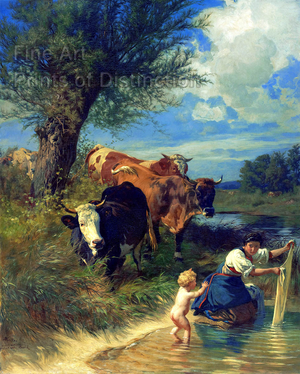Cows and Washerwoman Near a Brook by Rudolf Koller