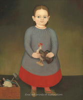 A premium print of Girl with Toy Rooster painted by an Unknown American Artist around 1840