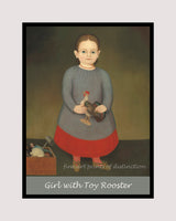A premium poster of Girl with Toy Rooster painted by an unknown American Folk Artist around 1840