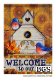 Autumn Bluebirds Decorative Flag