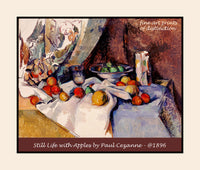 Premium Poster of Still life with Apples by the French Artist Paul Cezanne