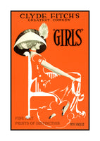 Girls Theater play by Clyde Fitch from 1910 Art Print