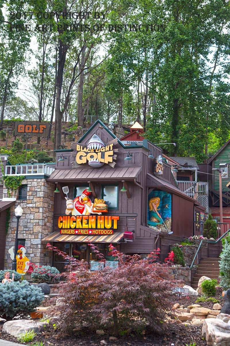 The Chicken Hut and Black Light Golf Course at Gatlinburg TN