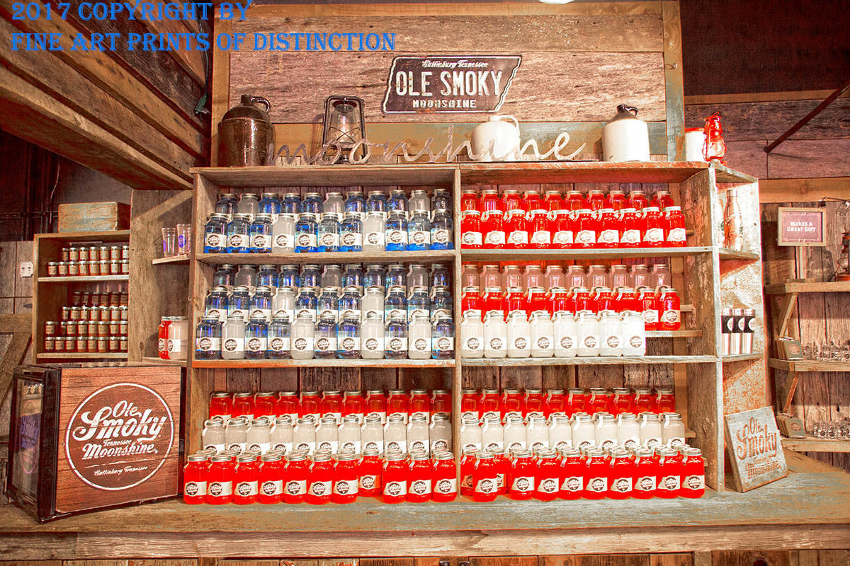 Premium Art Print of Red, White and Blue Moonshine Jugs from Ole Smokey Moonshine
