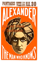 Alexander The Man Who Knows Magician Poster