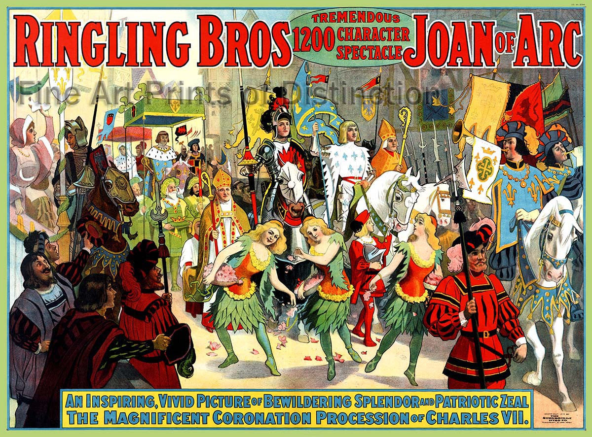 Ringling Brothers Joan Of Arc Circus Poster from 1912