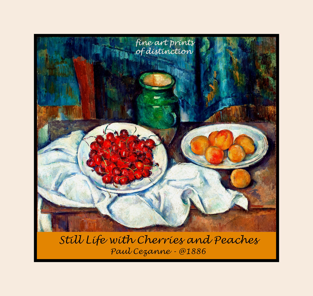 Premium poster of Still Life with Cherries and Peaches painted by French artist Paul Cezanne