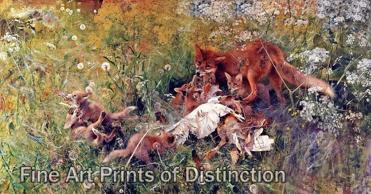 Family of Foxes painted by Swedish Artist Bruno Liljefors