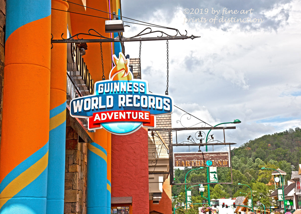 Guinness World Record Street Sign at Gatlinburg Tennessee art print