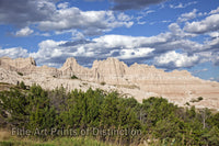 Rock Formations and Cedar Trees in Badlands Park in South Dakota Art Print
