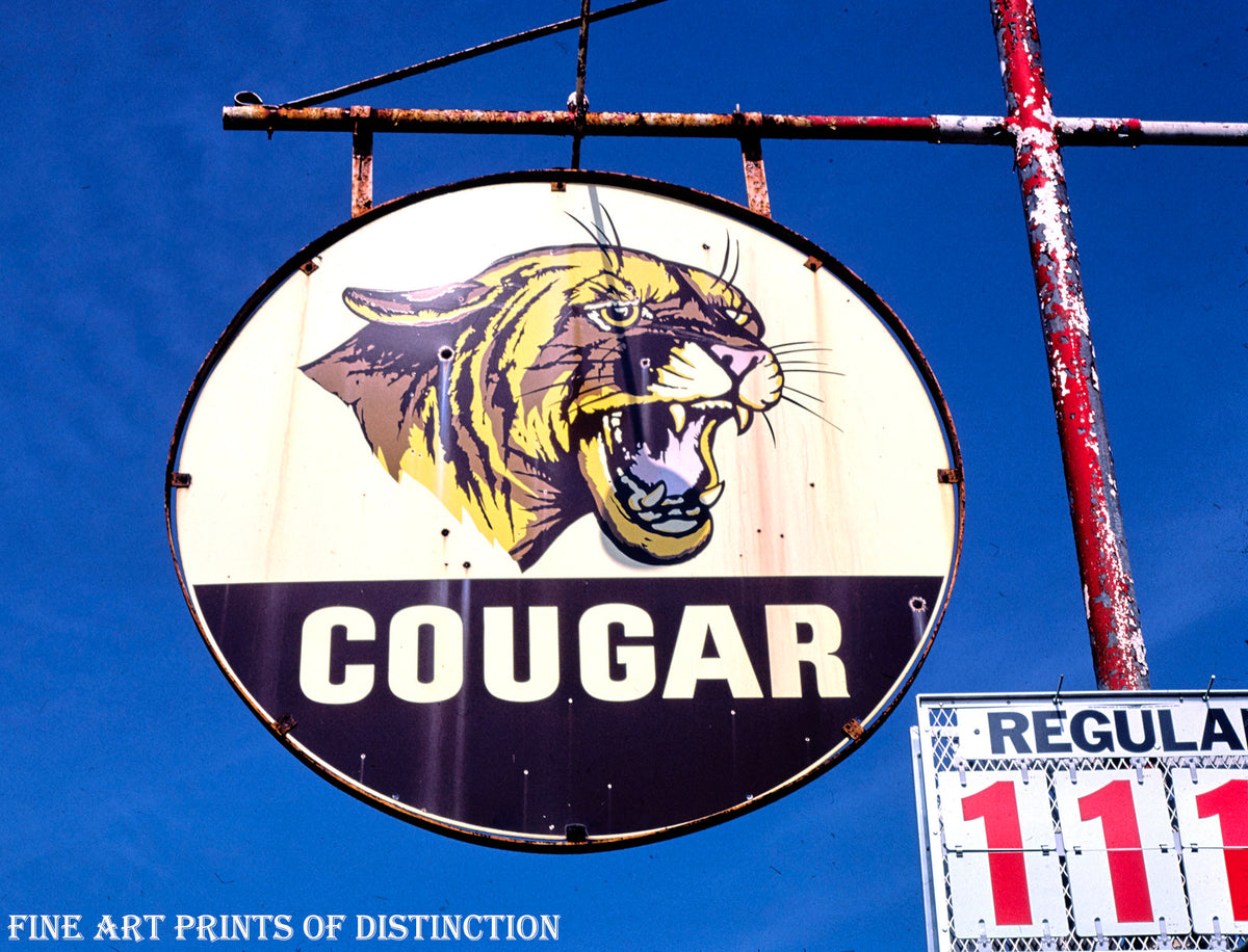 Cougar Gas Service Station Sign Premium Print
