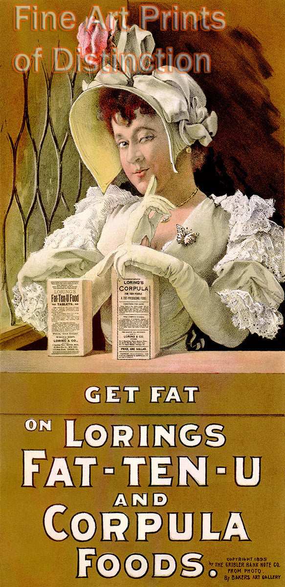 Lorings Fat - Ten - U and Corpula Foods advertisement Art Print