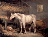 Old Horses & Dog in Stable painted by English Artist George Morland in 1791