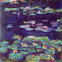 White and Yellow Water Lilies by Claude Monet Premium Quality Art Print