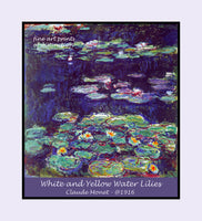 A Premium poster of White and Yellow Water Lilies painted by French artist Claude Monet