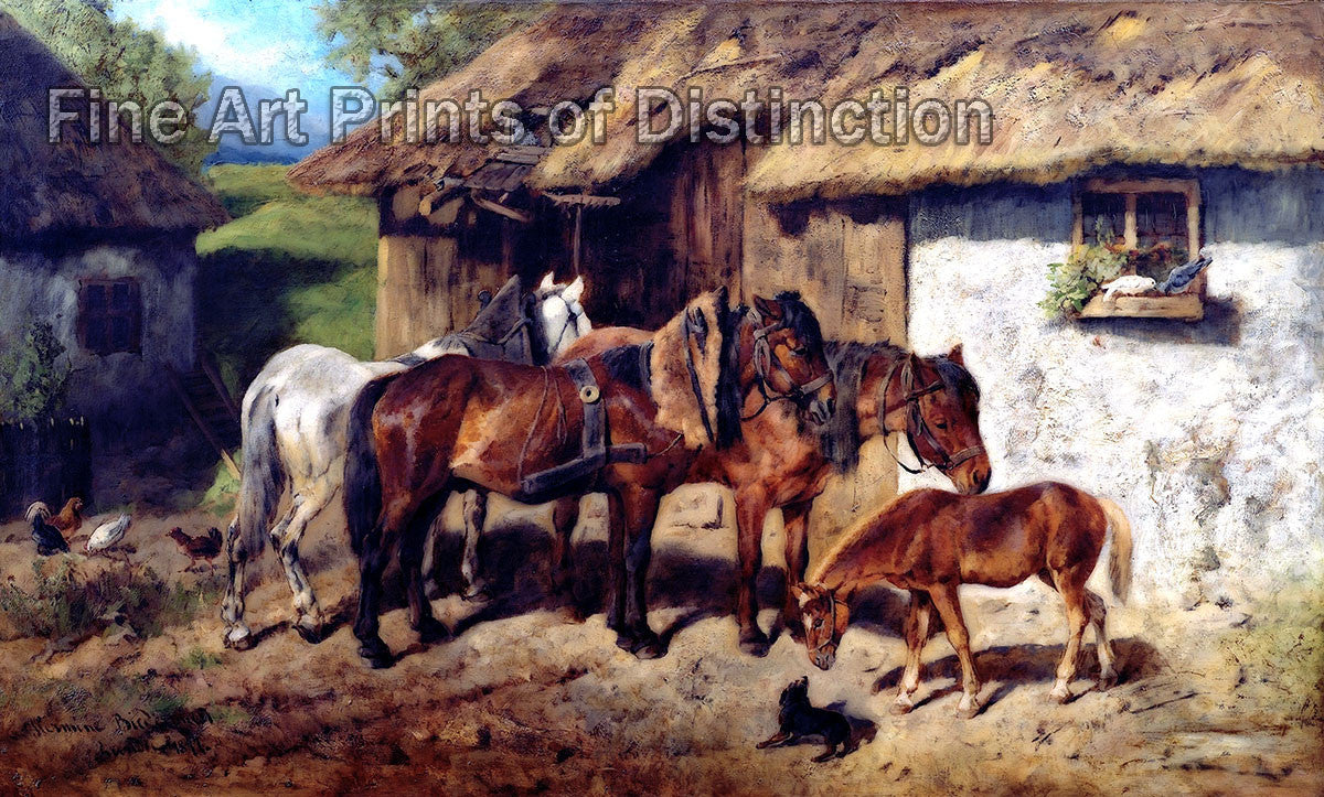 Harnessed Horses at the Stables painted by Hermione Biedermann Arendt
