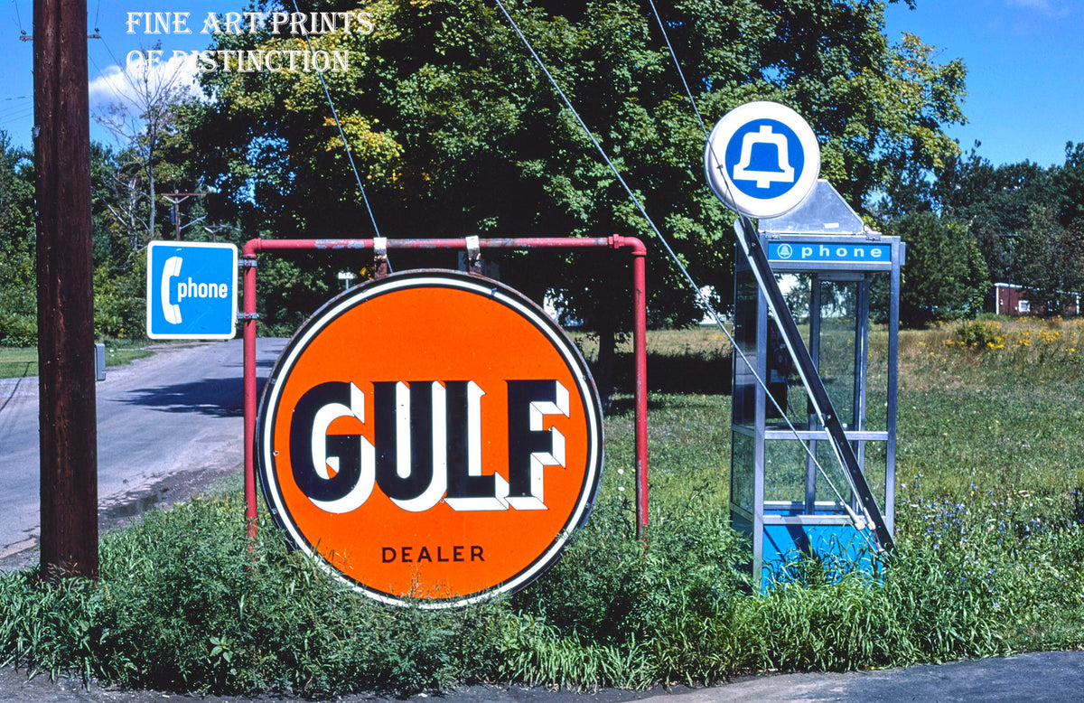 Gulf Dealer Sign and Bell Pay Phone Premium Print