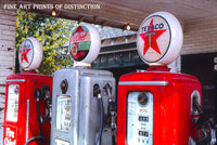Texaco Gas Island with Three Pumps Premium Service Station Print