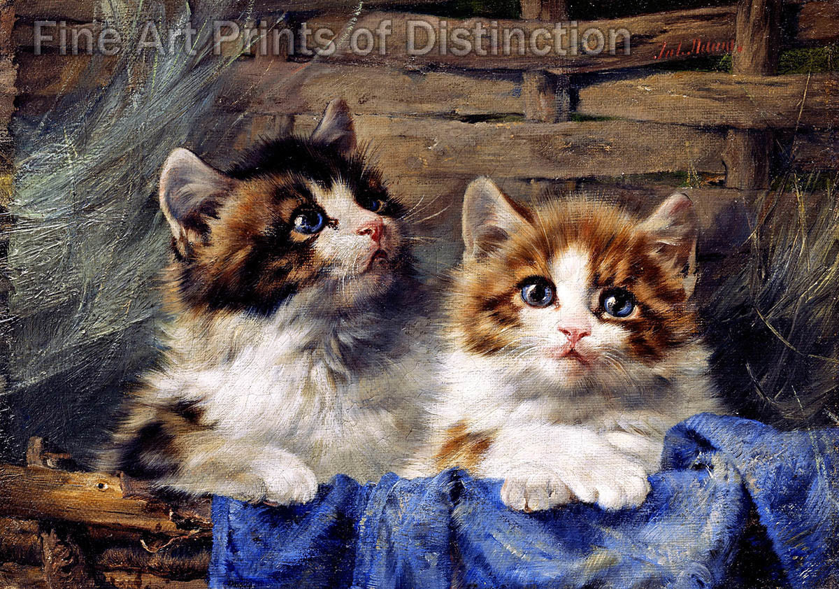 Two Kittens in a Basket with a Blue Cloth painted by Julius Adam