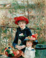 Two Sisters on the Terrace painted by the French Impressionist Artist Pierre Auguste Renoir