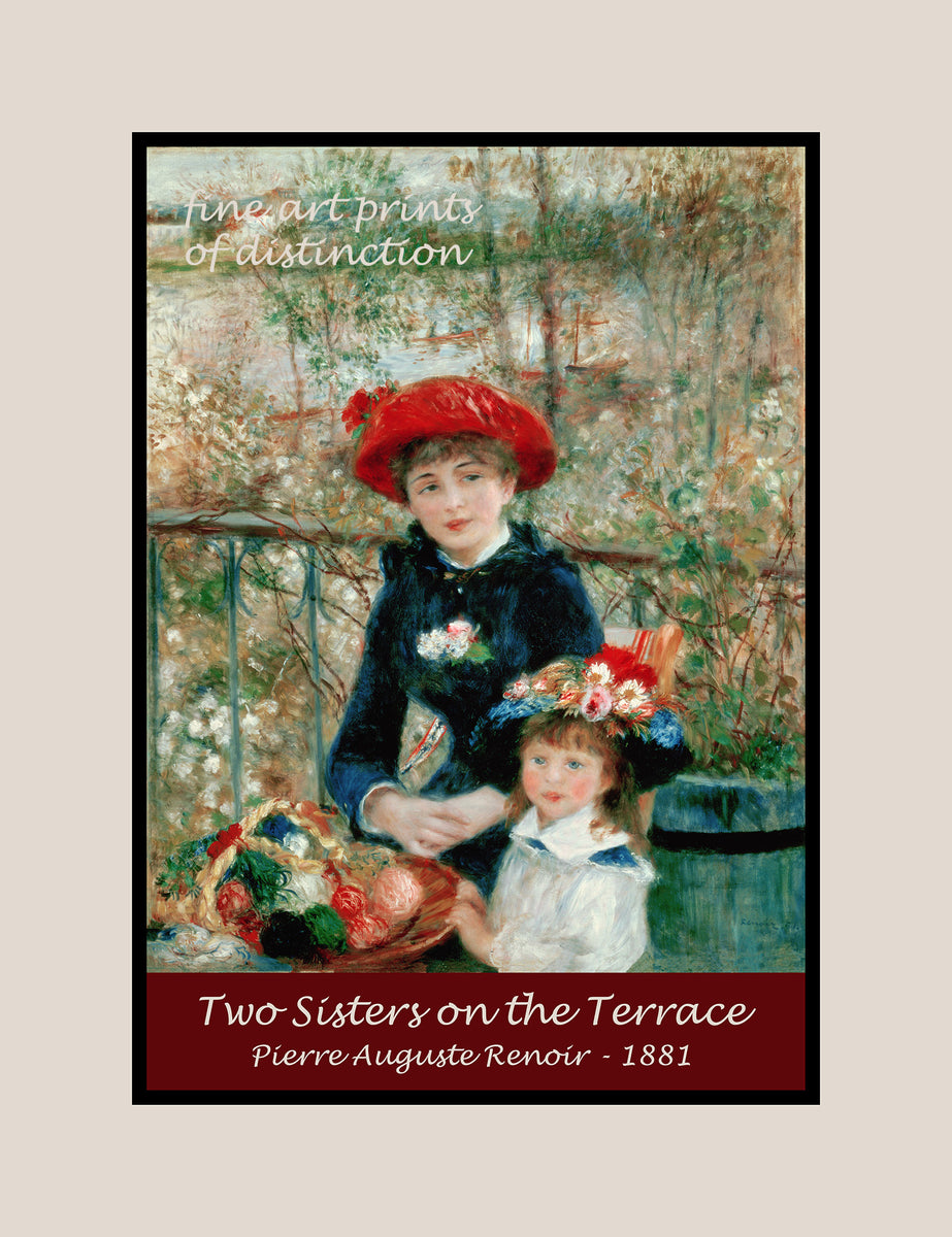 A premium poster of Two Sisters on the Terrace painted by Renoir in 1881