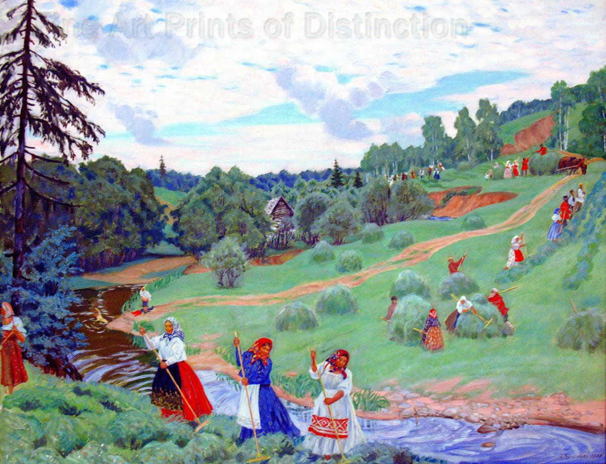 Haymaking by Russian Artist Boris Kustodiev