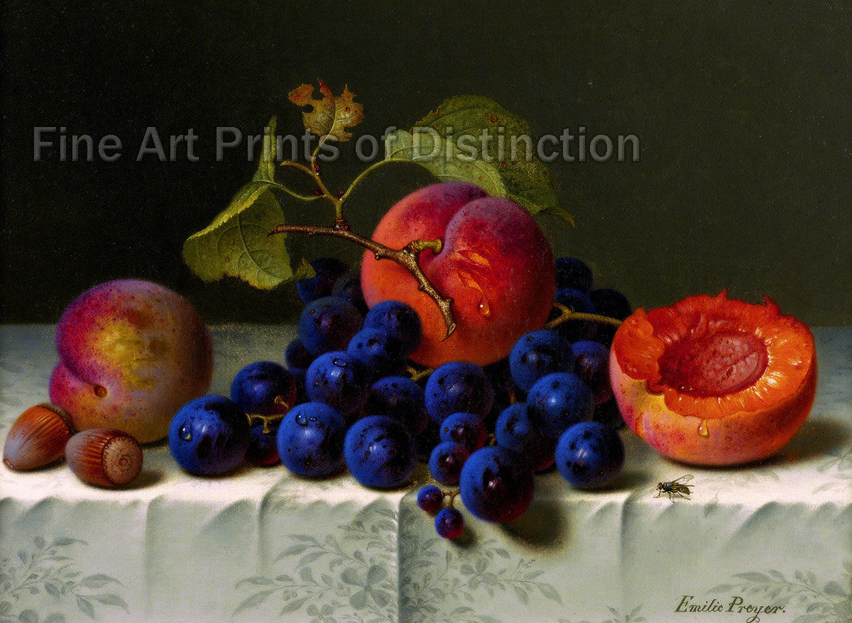 Still Life with Peaches, Grapes and Nuts on a Table by Emilie Preyer