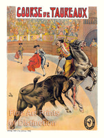 Reproduction Print of Bull Fight French Lithograph Advertisement
