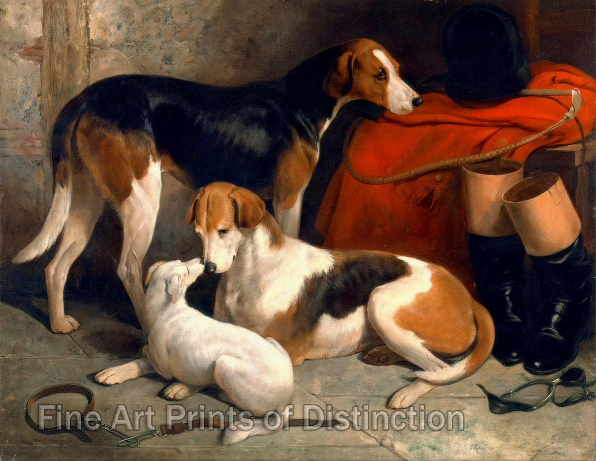 A Couple of Foxhounds with a Terrier Property of Lord Henry Bentink by William Barraud