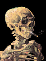 Skeleton Skull With Smoking Cigarette by Vincent Van Gogh