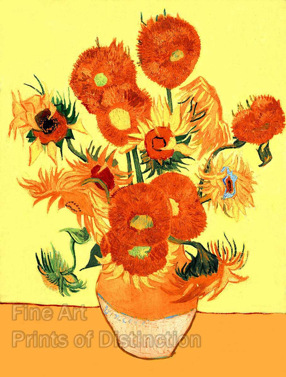 Sunflowers painted by Vincent Van Gogh