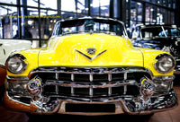 A premium print of a Shiny Chrome Grille on a Bright Yellow Antique Car