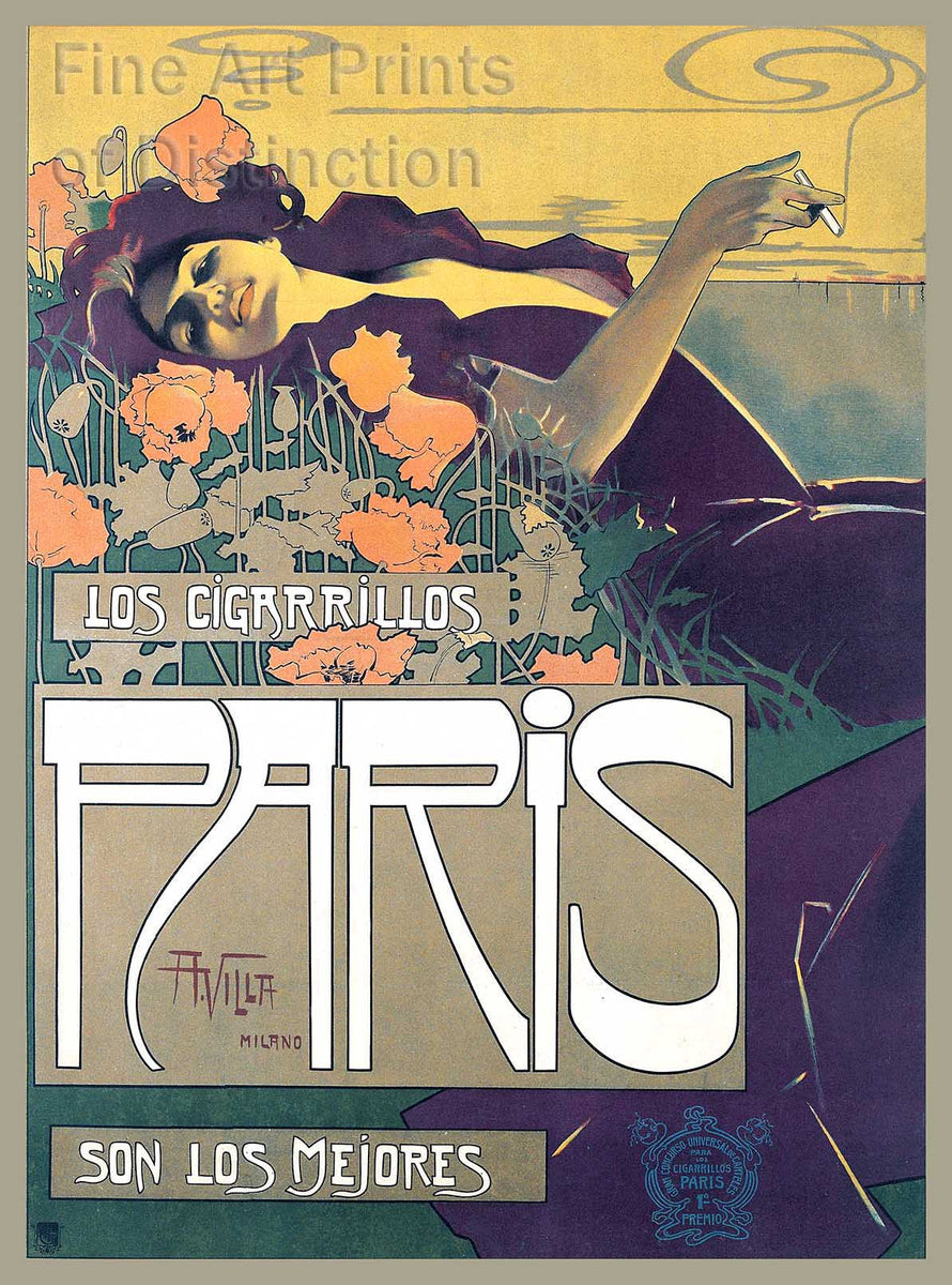 Los Cigarrillos Paris French Lithograph