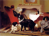 Reading Man with Two Dogs painted by Wouterus Verschuu