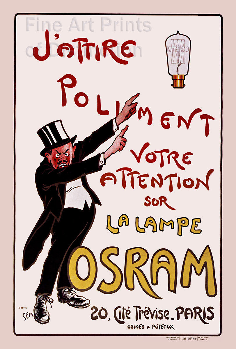 Osram La Lampe French Advertising Lithograph Poster
