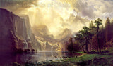 Among the Sierra Nevada Mountains painted by Albert Bierstadt